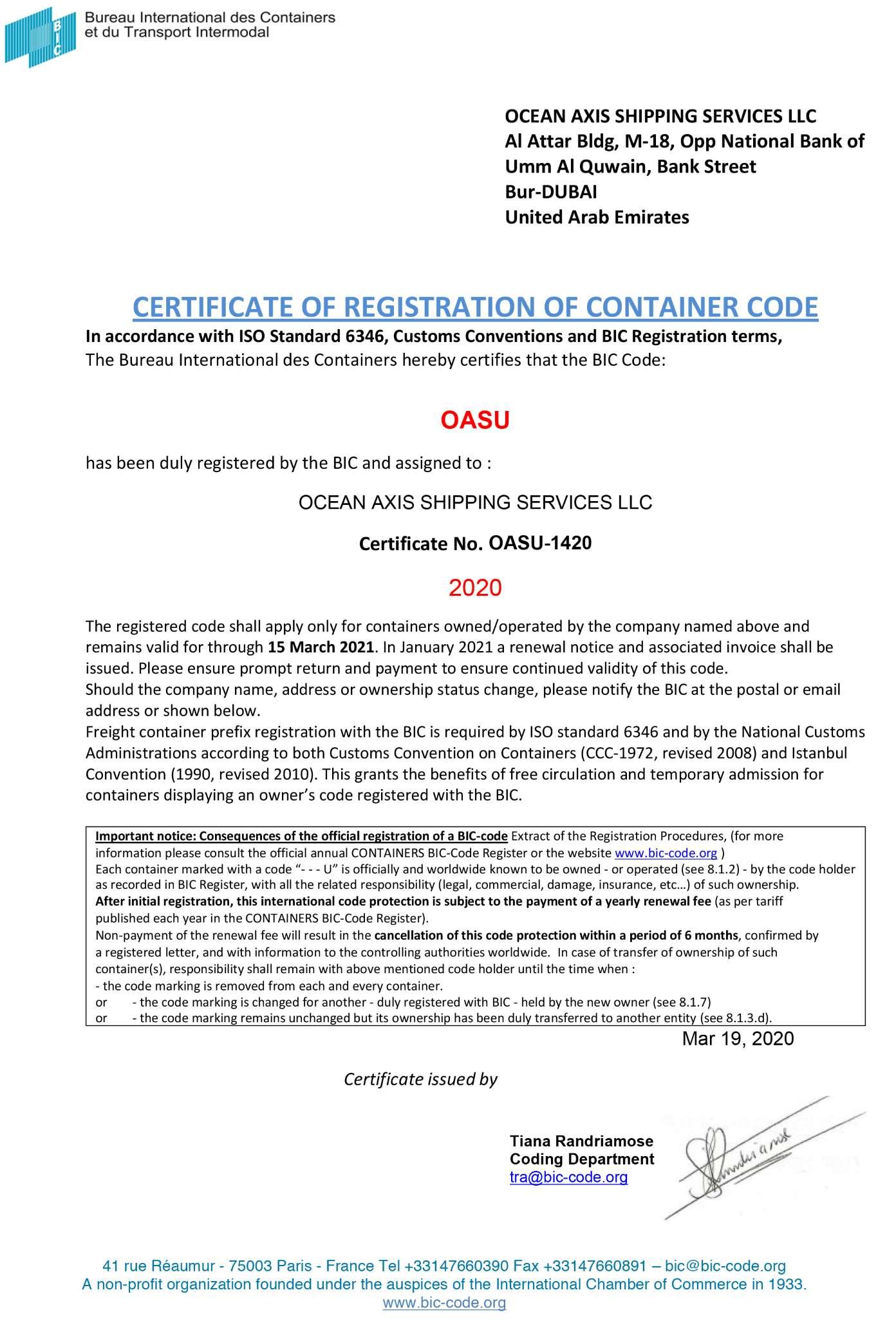 Bic certificate